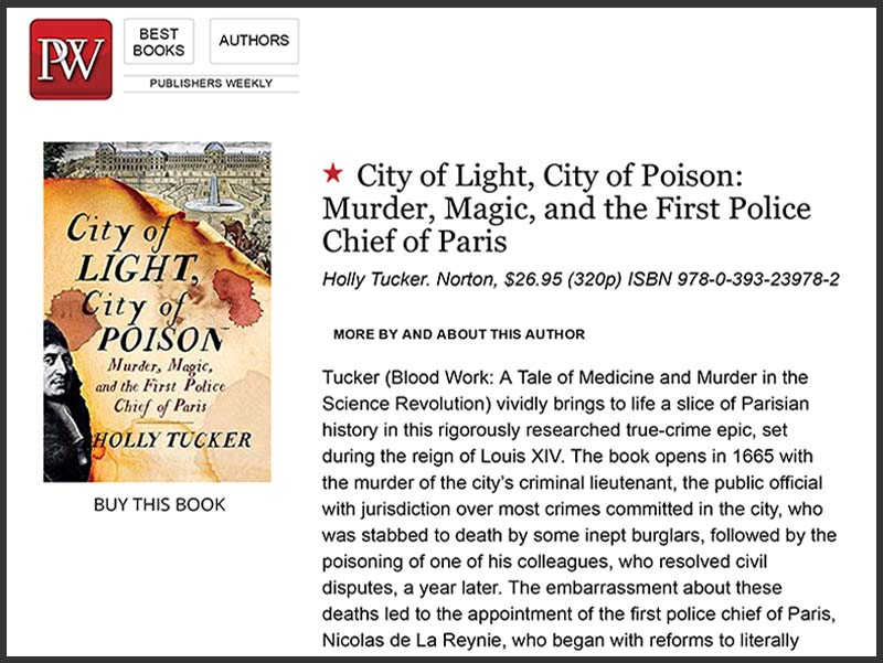 City of Light receives starred review in Publishers Weekly!