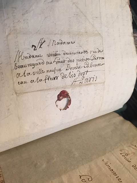 A letter addressed to Madame Voisin